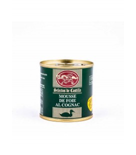Mousse de pato al cognac (15% foie gras). Lata 95 gr.