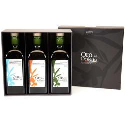 Coffret d'huile d'olive Bouteilles 500 ml. Oro del Desierto Ecológico