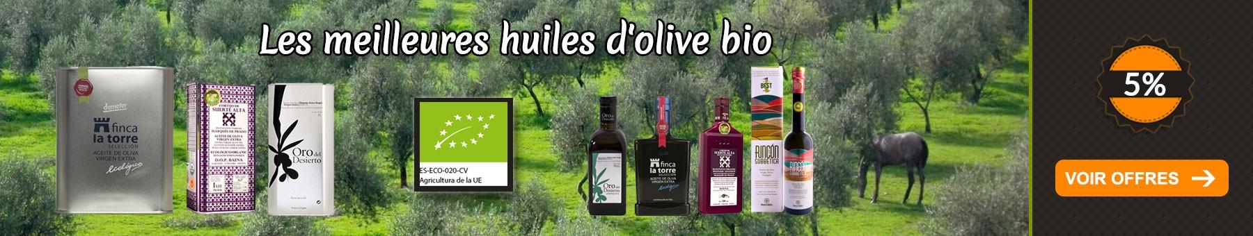 5% de réduction sur les huiles d'olive bio