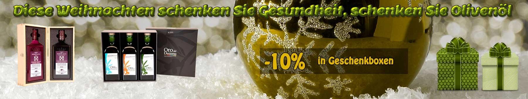 Olivenöl Geschenkboxen weihnachtlich